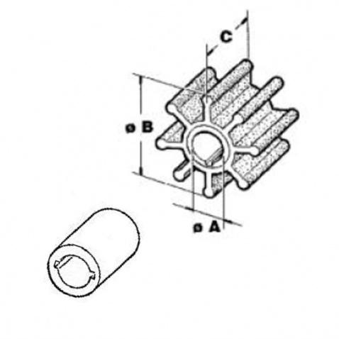 Impeller 500336, Suzuki 2T2/2,4/5/6/8 4T 4/6