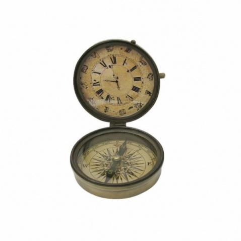 Kompas+hodiny antická mosadz, priem.8cm