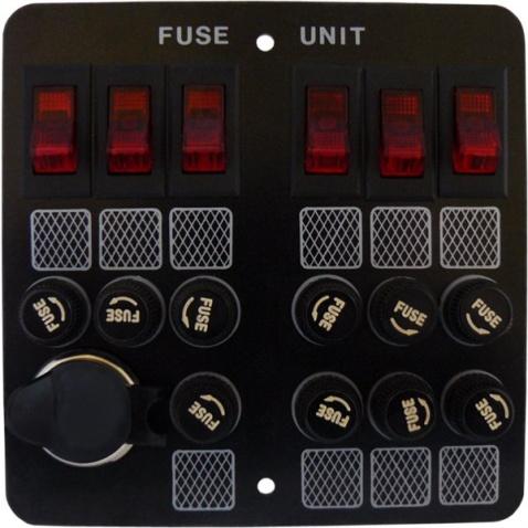 Panel vypínačov - 6 vedľa seba s poistkami + zásuvka zapalovač