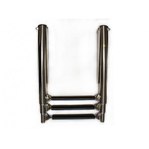 Rebrík teleskopický, trojstupňový, nerez