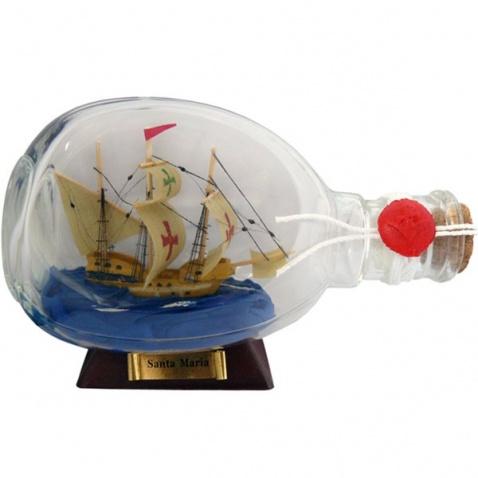Model lode vo fľaši - plachetnica SANTA MARIA, dĺžka 15cm