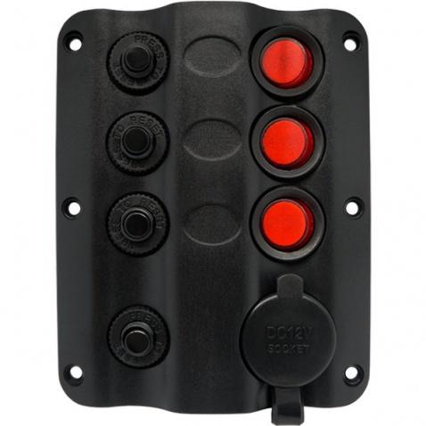Panel vypínačov - 3 pod sebou + zásuvka zapalovač