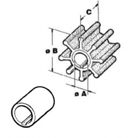 Impeller 500320, Yamaha/Mariner 2T 9,9/15 4T8/9,9