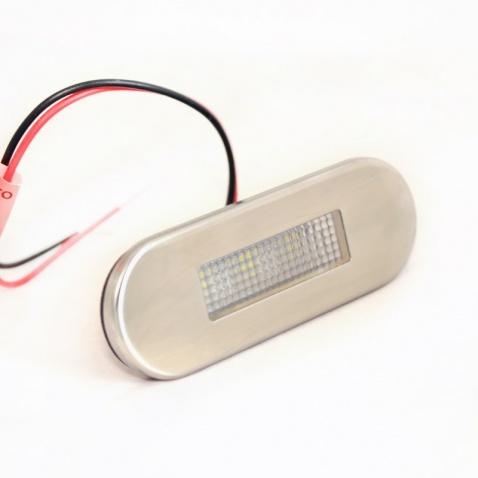 Svetlo oválne LED, 0,2W white, 12V, 84x29mm,kryt nerez
