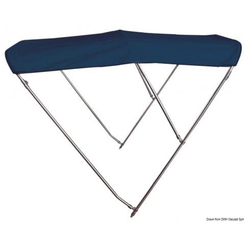 Bimini 3-ramenné, modrá plachta, nerez - typ 230 - výška 140 cm, dĺžka 200 cm