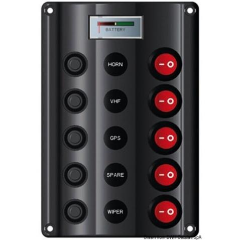 Panel vypínačov - 5 s voltmetrem, 160x107mm