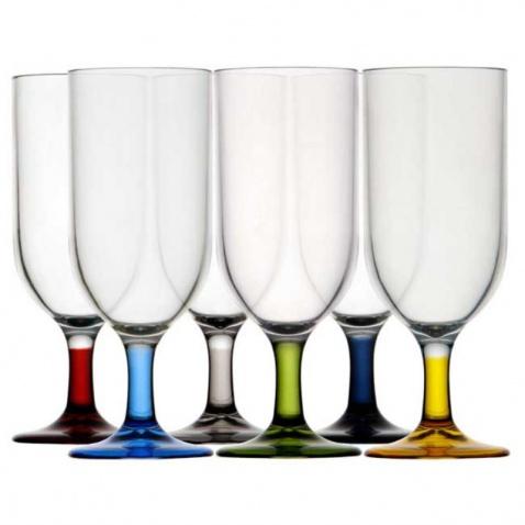 Pohár na šampaňské, barevné-sada 6ks