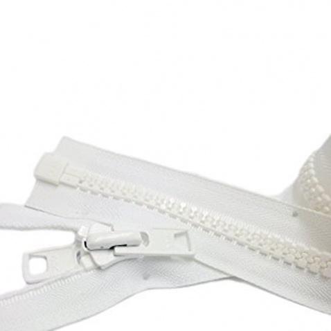Zip YKK kostěný , bílý - délka 100 cm