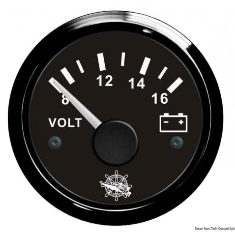 Voltmeter, 8-16V, čierny