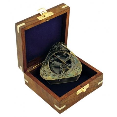 Kompas-slnečné hodiny v drevenej krabičke, antická mosaz, 8x8x6,5cm