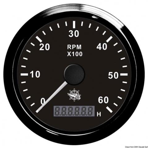 Otáčkomer Osculati 0-4000 rpm, čierny