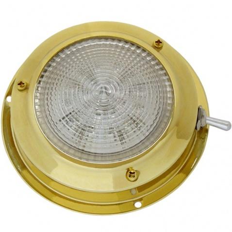 Svetlo kajutové, LED , zlaté - priemer 11cm , s páčkovým vypínačom
